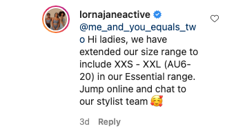 Lorna Jane comment Instagram