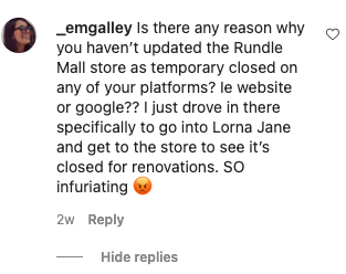 Lorna Jane Instagram comments