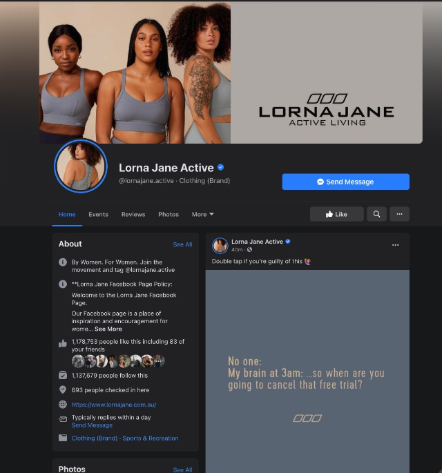 Lorna Jane Facebook